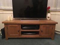 Solid oak tv stand & matching book shelf