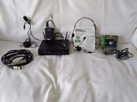 Microphone Headset, Clip-On Lapel Mic, Receiver, Transmitter, Power Supply, Connection Cables