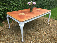 Stunning French Bergere painted shabby chic solid wood dining table for sale