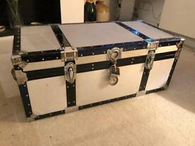 Vintage metal trunk storage box