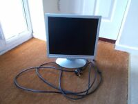 Computer LCD Flat Screen Monitor 17 inch with cables