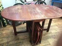 Fold away dining table with two chairs