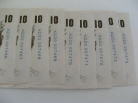 9 X £10 NOTES UNUSED FOLLOW ON NUMBERS