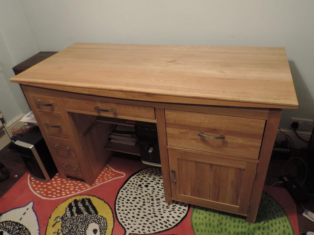 Tokyo Natural Solid Oak Computer Desk Furniture Land