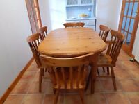 Pine Kitchen & Dining Table and 6 chairs