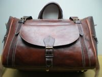 100% GENUINE LEATHER BAG TRAVEL BAG WEEKEND BAG