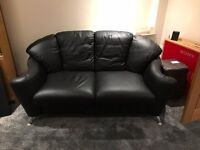 3 Piece Sofa Suite - Real Black Leather, Like New ( 2 x Sofa and 1 Chair )
