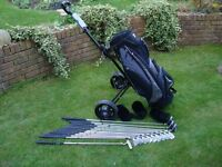 Full set of Pinseeker V111 golf clubs inc bag and trolley in great condition