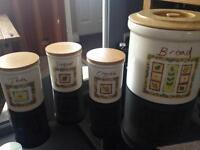 Bread, tea, sugar and coffee pots