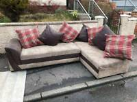 Brown fabric and corduroy corner group sofa £175