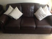 Chocolate Brown Leather 3 Piece Suite. Excellent Condition