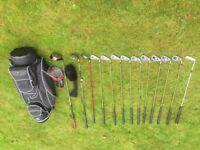 Full set of golf clubs, bag, trolley