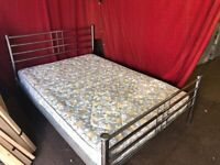 Chrome metal double bed with mattress Can deliver
