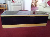 GLASS TOPPED TV STAND WITH GLASS DOORS GREAT CONDITION!