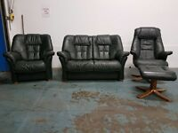 DARK GREEN LEATHER LOUNGE SUITE 2 SEATER SOFA ARMCHAIR RECLINING CHAIR FOOTSTOOL STRESSLESS STYLE
