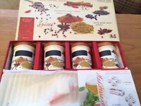 4 spice jars and tray, brand new