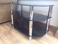 Glass / tv stand in black colour really nice condition