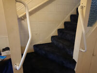 STAIR HANDRAIL - GRAB RAIL- DISABLED AID - NEWEL POST HANDLE - LEFT & RIGHT - STEEL - 25mm