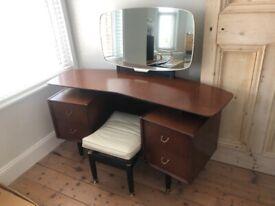 G Plan Retro 1960's Mid Century Teak Egomme Dressing Table, Mirror and Stool