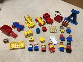 Rare Vintage Lego Duplo Bundle, People, Vehicles, Bricks, Crane