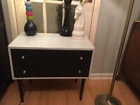 Monochrome 2 drawer chest on pin legs