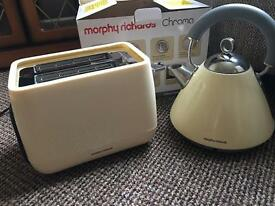 Red and cream Morphy Richards Toaster and cram kettle for sale