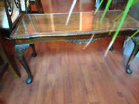 REDUCED !!!!! REDUCED !!!! BARGAIN !!!! WALNUT LONG GLASS TOPPED COFFEE TABLE