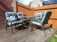 Metal and Glass Garden Table and 4 Chairs Set
