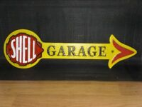 "Shell Garage Sign 16 1/2"" ( 42cm ) long Cast Iron Arrow Great Repro Vintage Style Plaque Workshop"