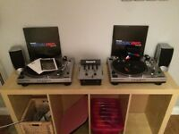 2 x KAM DDX750 Direct Drive Turntables, Kam Mix 150 DJ Mixer, Numark Virtual Vinyl