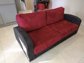 Sofa by Nabru (Red and Black), inside storage - can be transported by car!