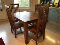 Balinese style dining table and 4 chairs