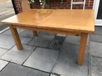 6 To 10 Seater Solid Heavy Gauge Oak Extending Dining Table with two leaves