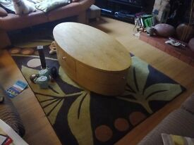 Solid wood coffee table with 3 drawers