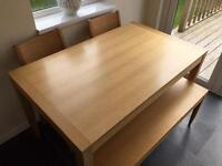 John Lewis, solid wood, Dining set with two chairs and accompanying solid wood bench