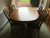 Teak extendable dining table & 4 chairs by Sutcliffe Furniture