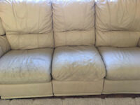 Free Cream Leather Sofas - 3 Seater + 2 Seater, Easy to Dismantle into 5 pieces for collection.