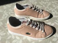 Lacoste Pink Leather Girls Trainers/Shoes - Size 12 (Junior)