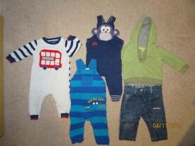 Bluezoo cute monkey/crocodile boy outfit dungarees bundle 6-9 months Jeans Spring