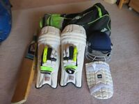 Youth's Cricket Equipment - inc bat, pads, helmet, gloves and bag