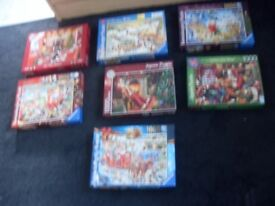 5 x 1000 piece jigsaws as new all xmas scenes
