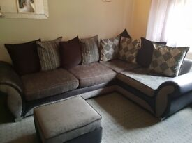 Corner sofa couch with swivel chair and 2 foot rests
