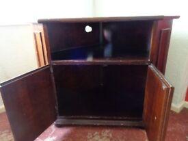 TV corner unit medium coloured wood