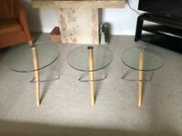 Maskreys Glass Toped 3 Piece Coffee Table