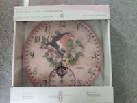 Garden Clock & Thermometer New In Box