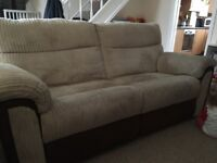 🌟🌟 brown & cream reclining sofa 🌟🌟