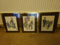 Ronald Embleton: 3 x vintage prints in matching metal and glass frames