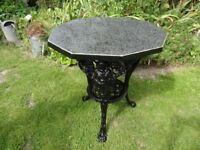 VINTAGE BRITANNIA CAST IRON TABLE WITH MARBLE/ GRANITE TOP --