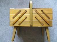 Wooden Beech Cantilever Sewing Craft Work Box on Legs