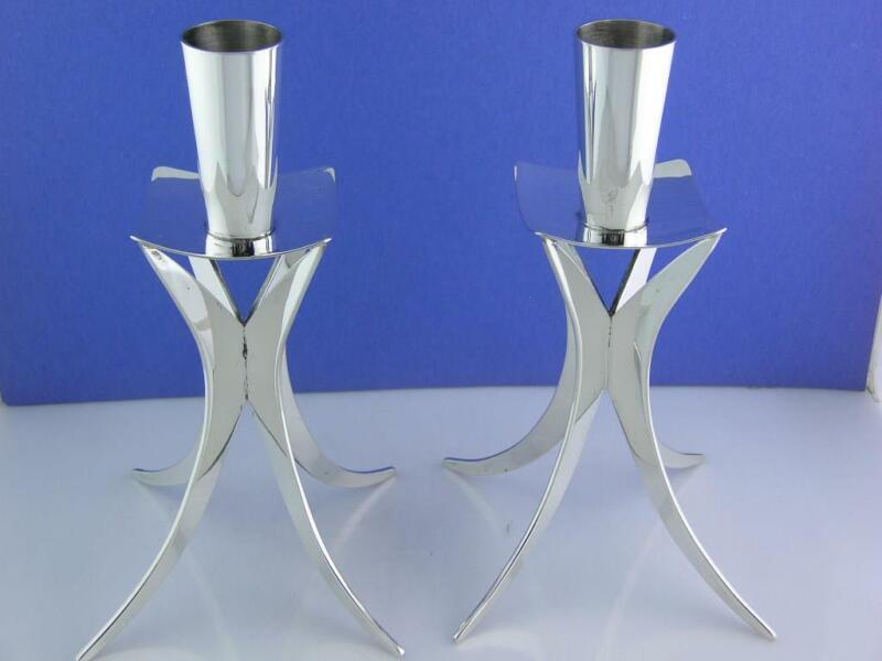 Rare pair Sterling Silver Candlesticks by KURT MATZDORF Modernist